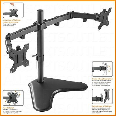 Dual Double Lcd Monitor Stand Mount Arm Freestanding Adjustable 2 Screens 15-27""