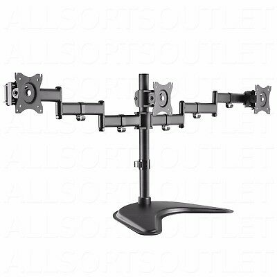 Triple Lcd Monitor Desk Stand Mount Arm Freestanding Adjustable 3 Screens 15-24""