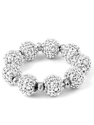 Job lot of 9 - Ladies Silver Shamballa Style Bracelet - Womans Costume Jewellery