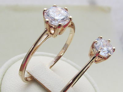 18CT Yellow Gold plated cubic zirconia Solitaire Engagement / Dress Ring