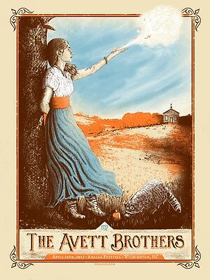 The Avett Brothers 4/12/13 Poster Wilmington NC Signed & Numbered #/200