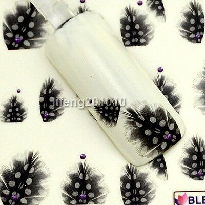Nail Art Nail Decals Water Transfer Sticker Decoration Tool Black feather Design
