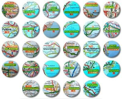 "MINI FRIDGE MAGNET - UK TOWNS & CITIES (Various Designs) -  1"" / 25mm - (E-H)"