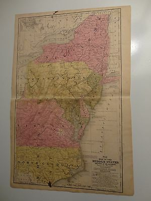 1847 Hand Colored Engraved Map of the Middle States and Part of the Southern