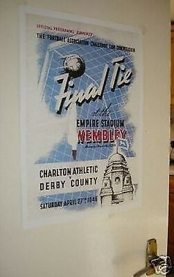 1946 FA Cup Final Poster of Programme Charlton Derby