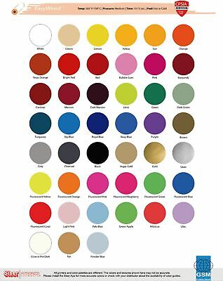 """Heat Transfer Vinyl Siser Easyweed 15"""" x 1 Foot - 32 Color Choices"""