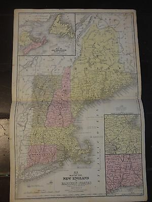 1850 Hand Colored Engraved Map of the New England or Eastern States