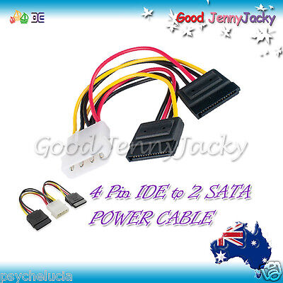 4 Pin IDE to 2 SATA Power Cable Splitter Adapter -  Hard Drive HDD SSD DVD DVDRW