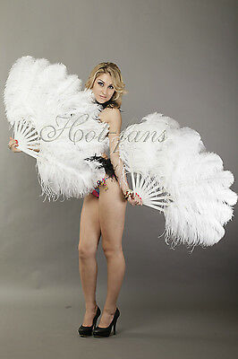 "A pair white Single layer Ostrich Feather fan 24""x41"" burlesque dancer"