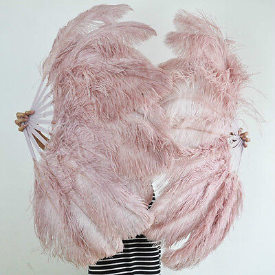 "A pair Beige Wood Single-layer Ostrich Feather fan 24""x41"" burlesque dancer"