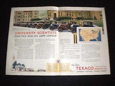 Vintage Texaco Motor Oil 2-Page color 1930 Original Print Ad W/Packard Ad WOW