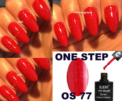 Bluesky One Step 77 Bright Red Shimmer Nail Gel Polish No Top Or Base Required