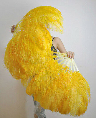 "A pair Yellow Single-layer Ostrich Feather fan 24""x41"" burlesque dancer"