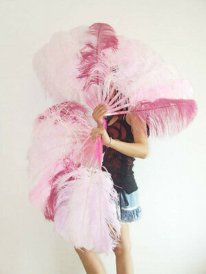 "A pair mix color Single-layer Ostrich Feather fan 24""x41"" burlesque dancer"