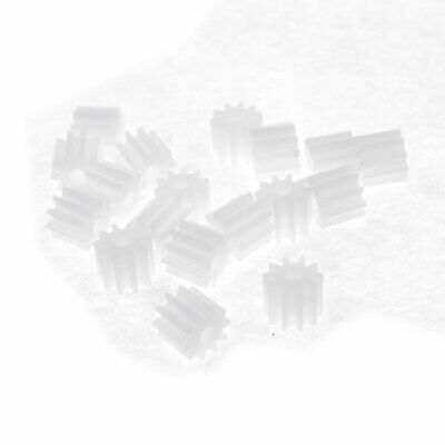 20 Pcs White Plastic Electric Model Parts 6mm Dia Teeth Toothed Gears