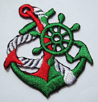 CUTE PRETTY GREEN ANCHOR Embroidered Iron on Patch + Free Shipping