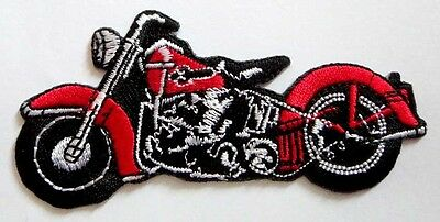 58008 Motorcycle Chopper Biker Motor Bike Red Flames Ride Gas Sew Iron On Patch