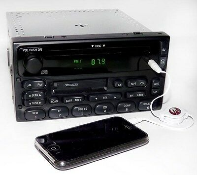 2000 Ford F550 Truck SD Super Duty AM FM CD Cassette Radio with Aux 3.5mm Input