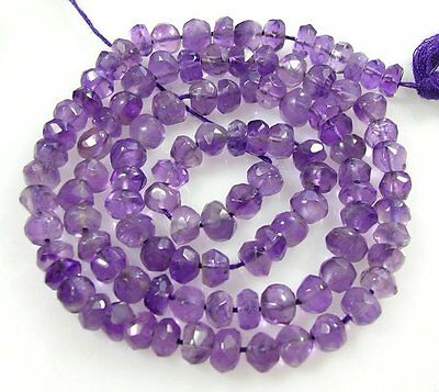 "NATURAL GEMSTONE BRAZILIAN AMETHYST FACETED RONDELLE BEADS 14.5"" 4.5mm  Z50"