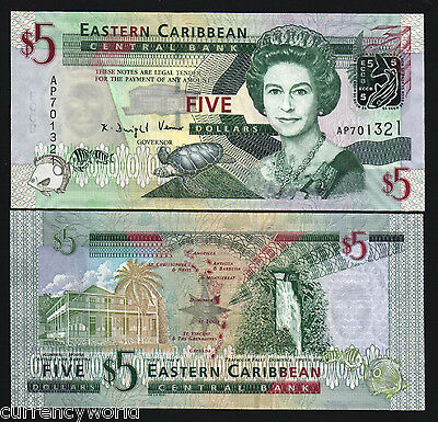 East Caribbean States $5 P47 2008 Queen Turtle Fish UNC Currency Note Free Ship