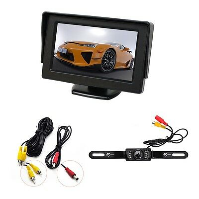 "New CMOS Car Rear View Backup Reverse Camera Night Vision + 4.3"" TFT LCD Monitor"