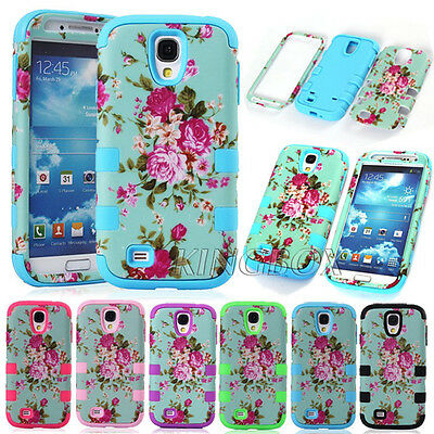 Floral Dual Layer 3in1 Shockproof Heavy Duty Matte Case Cover For Samsung Galaxy