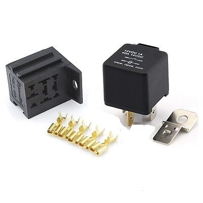 12V 4 Pin 40 Amp Normally Open Automotive Relay with Mounting Base & Terminals