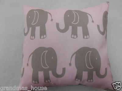 Cushion Cover - Grey Elephants on Pink  Nursery Cushion - 40cm x 40cm