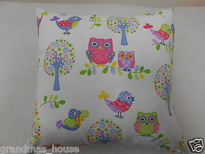 Whimsy Owls and Birds on White Cushion Cover - 40x40cm Nursery Cushion