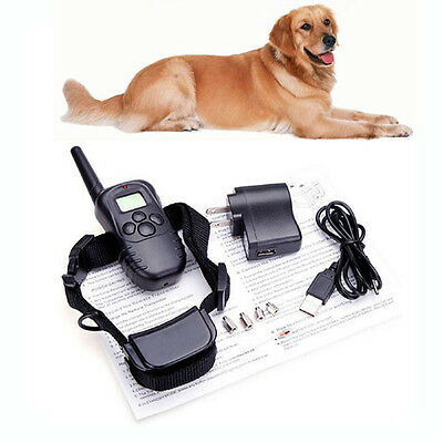 300M Rechargeable 100LV Level Shock Vibra Remote Pet Dog No Bark Training Collar