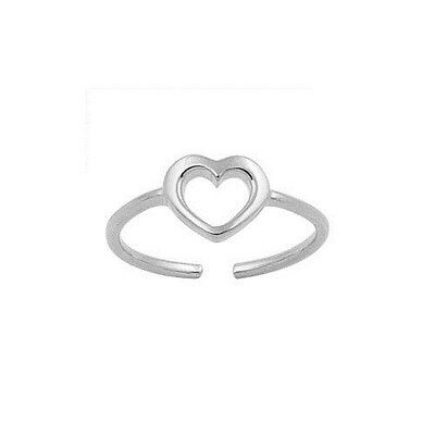 .925 Sterling Silver Adjustable Size Toe Ring with Open Heart