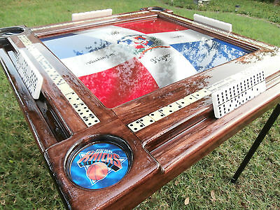 Domino Tables by Art with Dominican Flag & NY Sports Teams Cup Holders