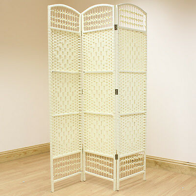 Cream 3 Panel Wicker Room Divider Hand Made Privacy Screen/Separator/Partition