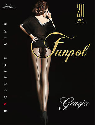 Women Ladies Black Backseam Tights GRACJA  20 Denier SIZE M-XXL