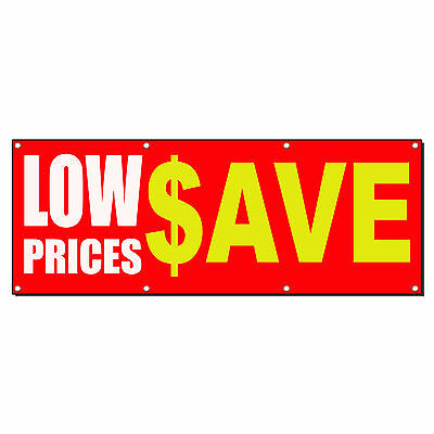 LOW PRICES $ SAVE RED Business Sign Banner 4 feet x 2 feet /w 4 Grommets