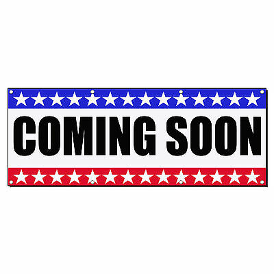 COMING SOON Business Sign Banner 4 feet x 2 feet /w 4 Grommets