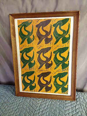 Vintage Mid Century Modern Abstract Mixed Media Painting on Paper