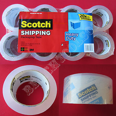 New 8 Rolls Heavy Duty 3M Scotch Shipping Packaging Tape Made in USA 54.6YD / Ea