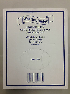 """1000, 2000 OR 5000 CLEAR POLYTHENE / FOOD BAGS 200 x 250mm / 8 x 10"""" FREE 24H"""
