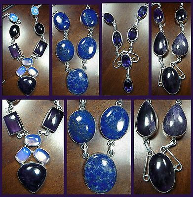 Gemstone 925 Silver Plate Amethyst, cabochon faceted Opalite, Lapis Lazuli USA