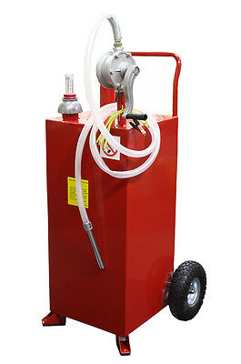 30 Gallon Gas Caddy Tank Gasoline Fluid Diesel w Rotary Pump and Hose
