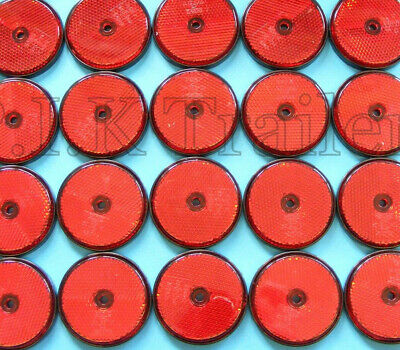 25 x Red Rear Screw on 60mm Round Reflectors - Trailers & Horse Box