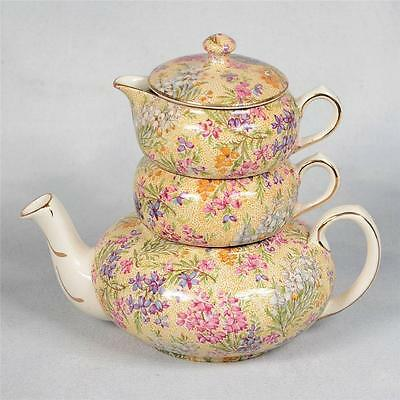 """Lord Nelson Ware """"heather"""" Chintz Stacking Teapot Set"""