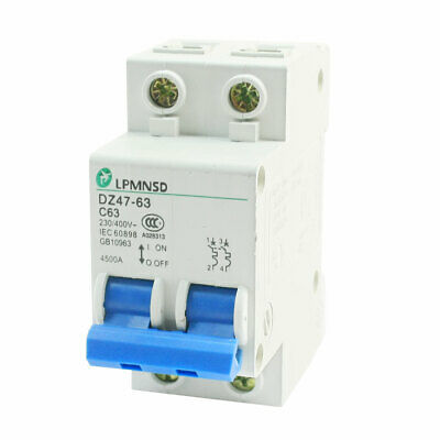 AC 400V 63A ON/OFF Switch 2 Phrase C Type Mini Circuit Breaker 4500A