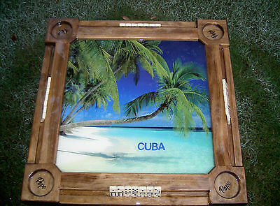 Domino Tables by Art with Cuba Tropical White Sand Beach & Palm