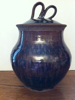 """Rustic Stoneware Brown Black Ribbon Handle CANISTER  8"""" Tall"""