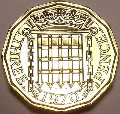 Proof Great Britain 1970 3-Pence~Last Year Ever Minted~Free Shipping