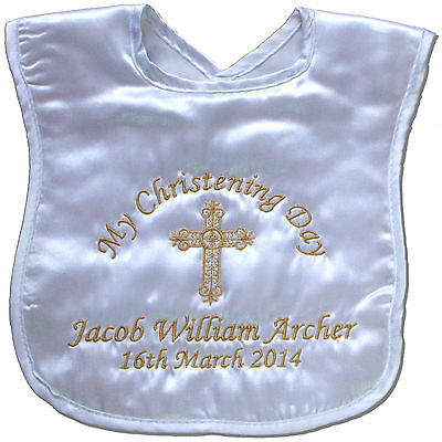 Personalised Christening/Baptism Bib Baby Boy/Girl/Naming Day Keepsake Gift