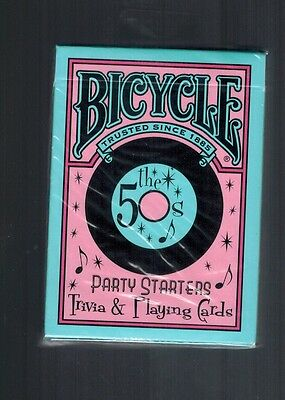 NEW BICYCLE PARTY STARTERS TRIVIA & PLAYING CARDS 50'S EDITION
