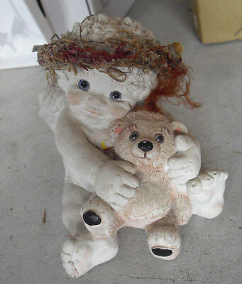 "Large 1991 Dreamsicles Figurine Cherub Boy with Bear 4"" Tall LOOK"